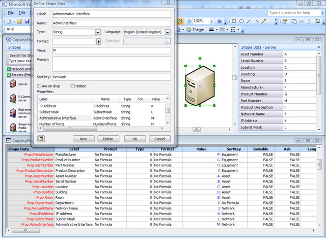 Copying data from one shape to another bvisual for for Table design visio