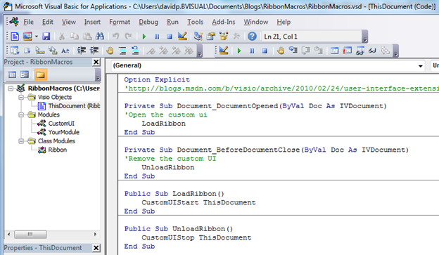 How to Run VBA Macros from a Ribbon Button in Visio 2010