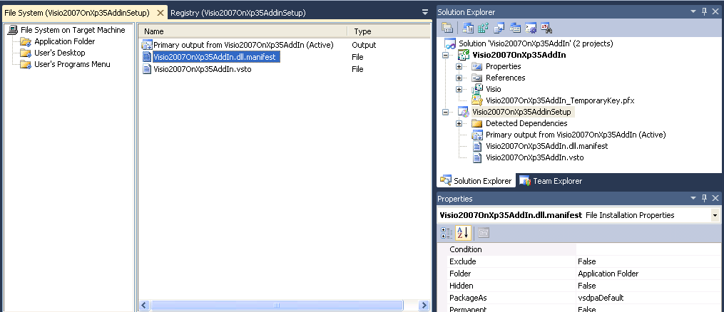 Deploying a Visio 2007 or 2010 VSTO add-in with Visual Studio 2010