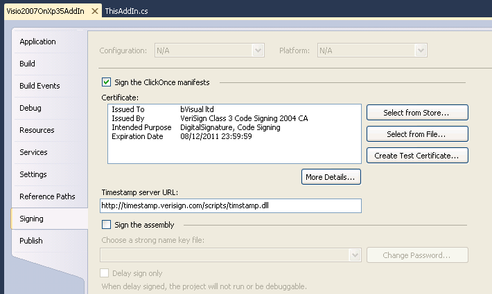 Deploying a Visio 2007 or 2010 VSTO add-in with Visual
