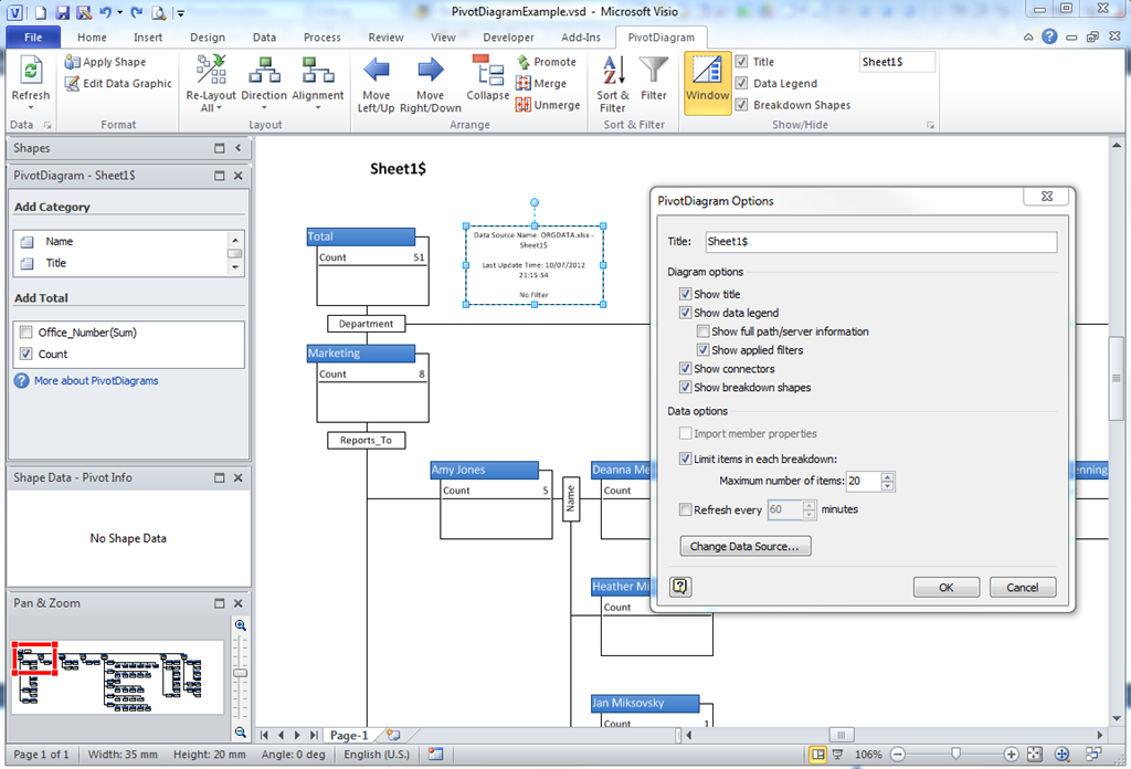 Selecting Nodes in Visio PivotDiagrams | bVisual - for people