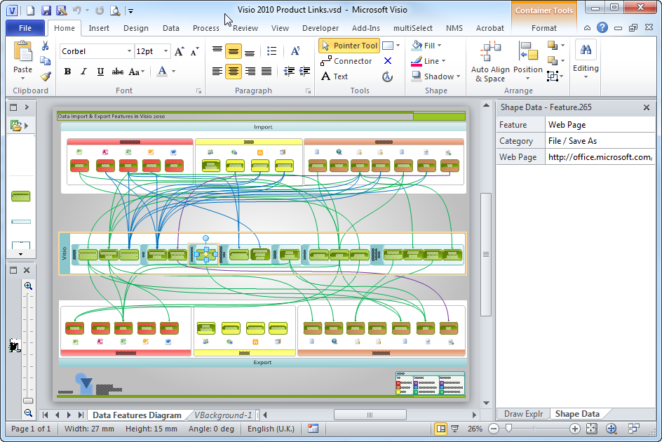 The Page Has Just Three Layers Connector Container And Data Graphic Their Visibility Can Be Toggled In Visio