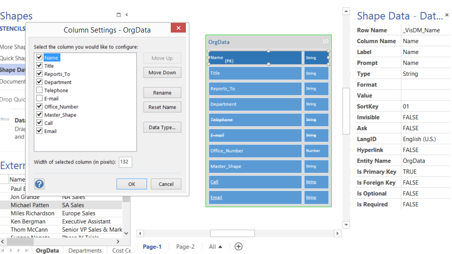 Creating A Schema From Visio External Data Record Sets