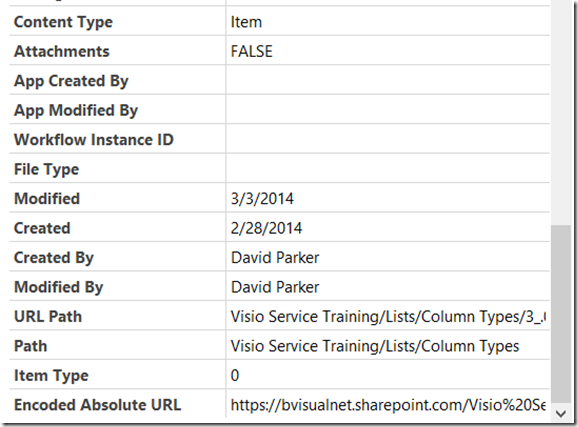 Mapping SharePoint List Columns to Visio Shape Data Types   bVisual