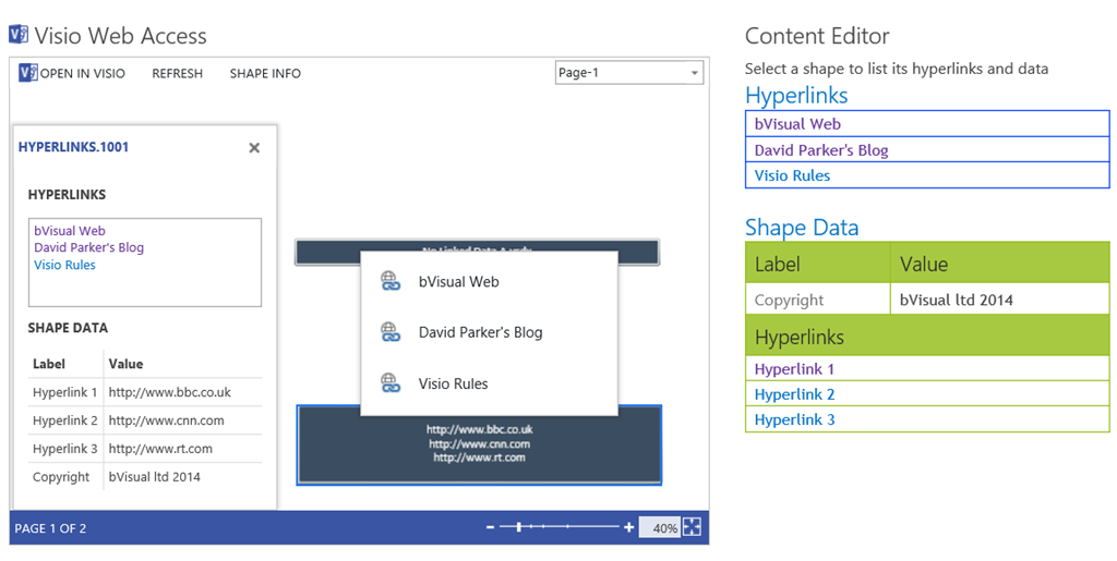 so this means that i can do away with the shape info panel and the hyperlinks popup within the visio web access control and provide hyperlinks buttons - Visio File Editor