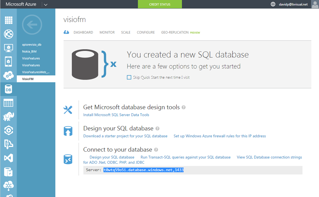 Linking sql database on azure to visio bvisual for for Table design visio
