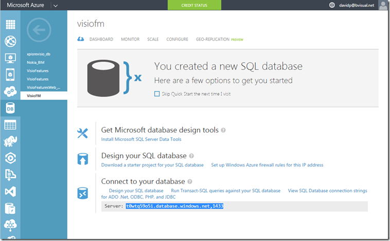Azure Sql database properties