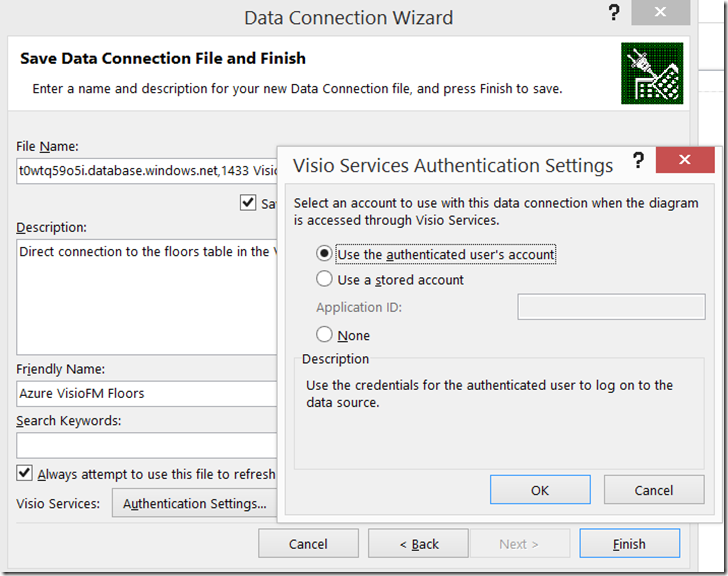 Visio Link Data to Shapes Authentication settings