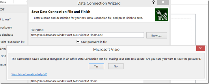 Visio Link Data to Shapes Save password in file