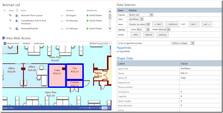 Using javascript to find and highlight visio shapes by shape data once the diagram load has completed the javascript in the content editor labelled data selector iterates through the shapes collection of the page ccuart Image collections