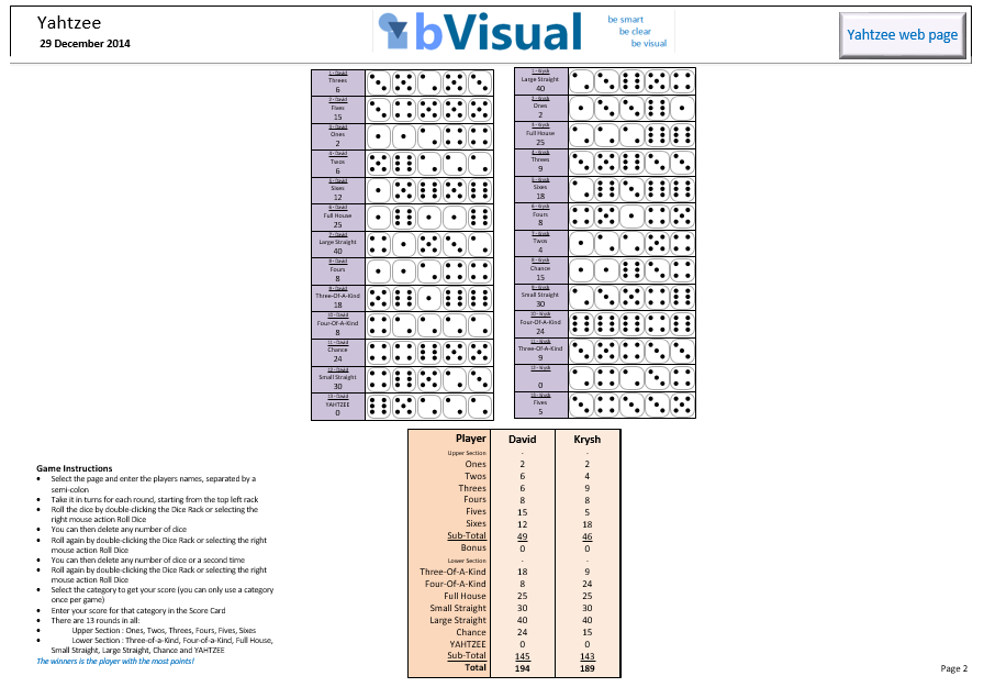 How to play Yahtzee with Visio | bVisual - for people