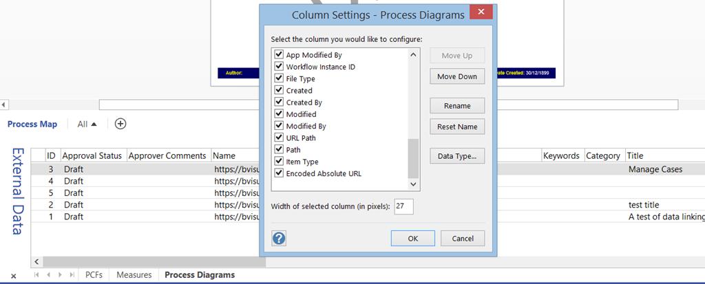 Making unused data-linked SharePoint columns in Visio