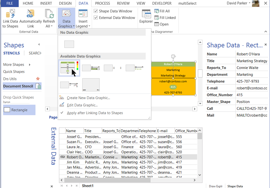 Dropping and Connecting Linked Data Shapes in Visio