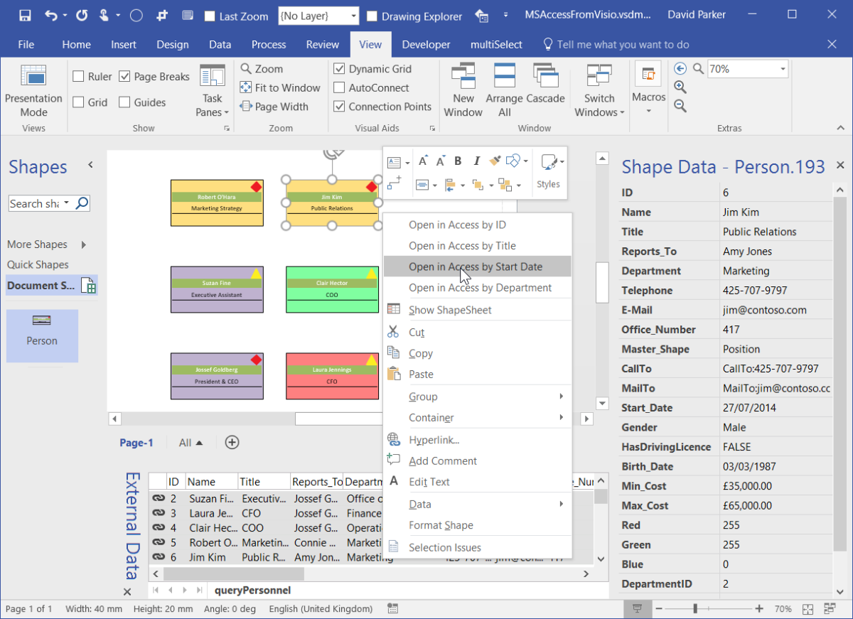 Opening an MS Access form from a Visio shape | bVisual - for