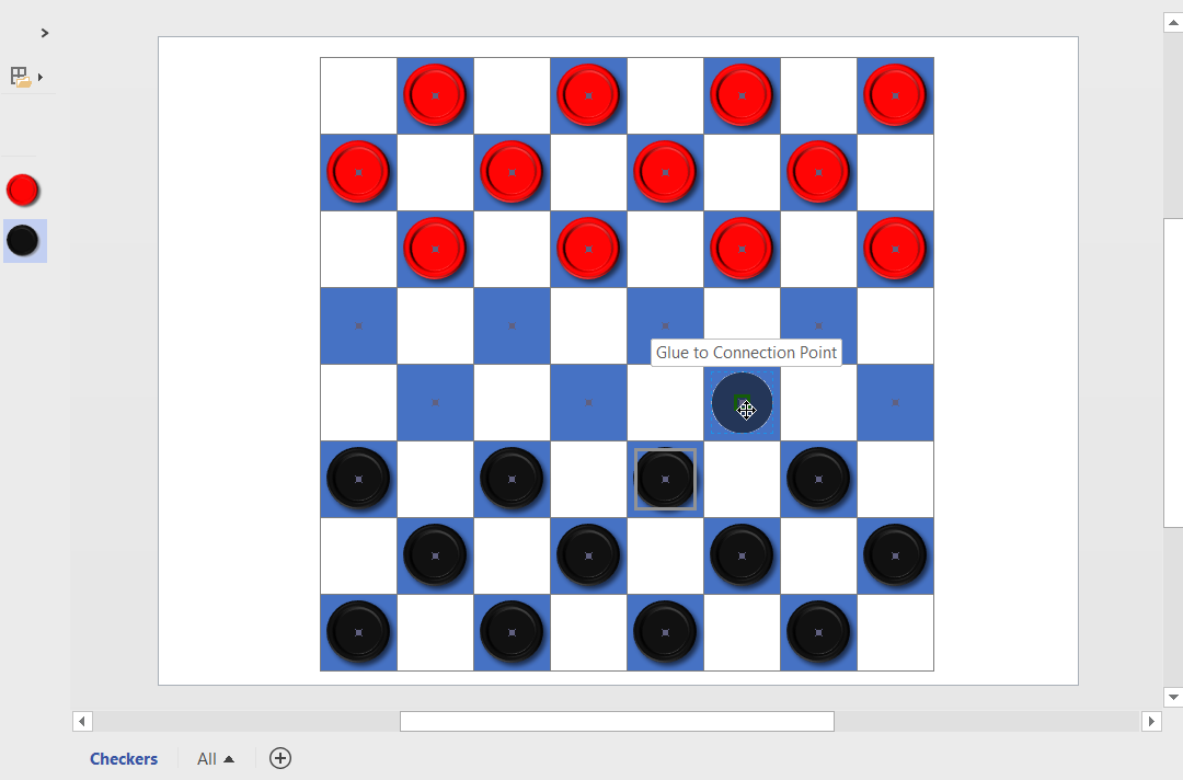 i added connection points to the dark squares of my chesschecker board created previously whats the minimum number of rectangles in a visio chessboard - My Visio