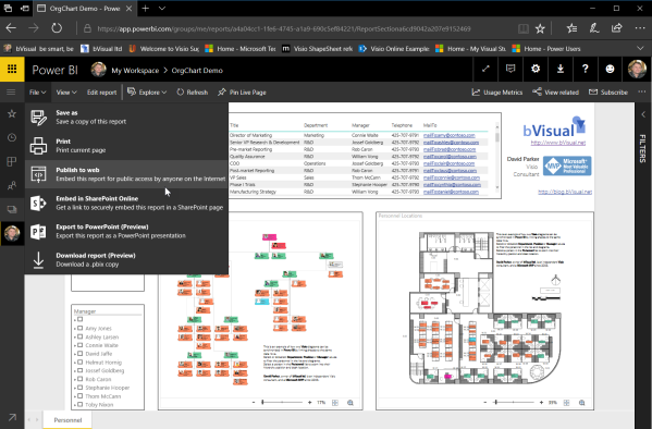 Visio in #PowerBI for viewing personnel hierarchies and locations