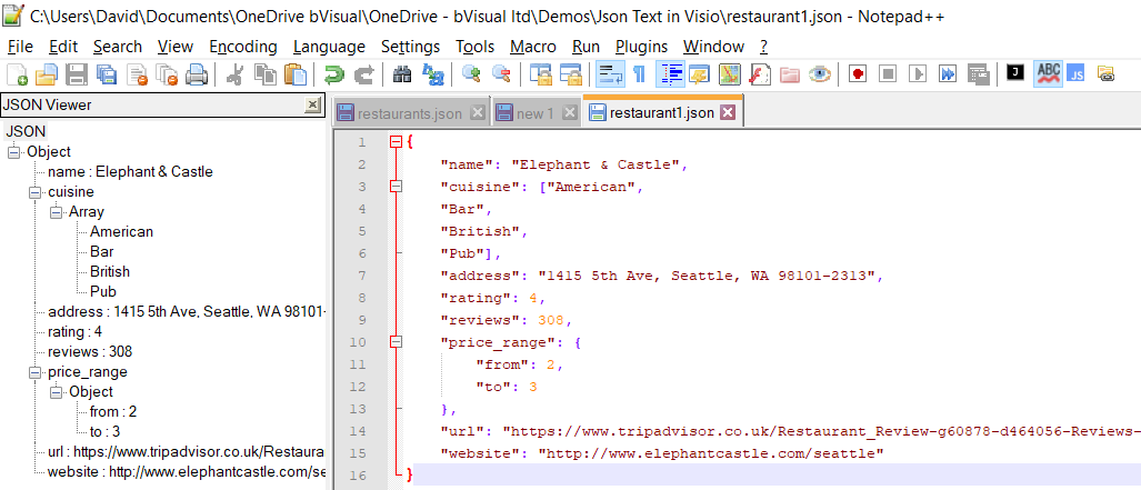 Using #JSON text in #Visio shapes | bVisual - for people interested