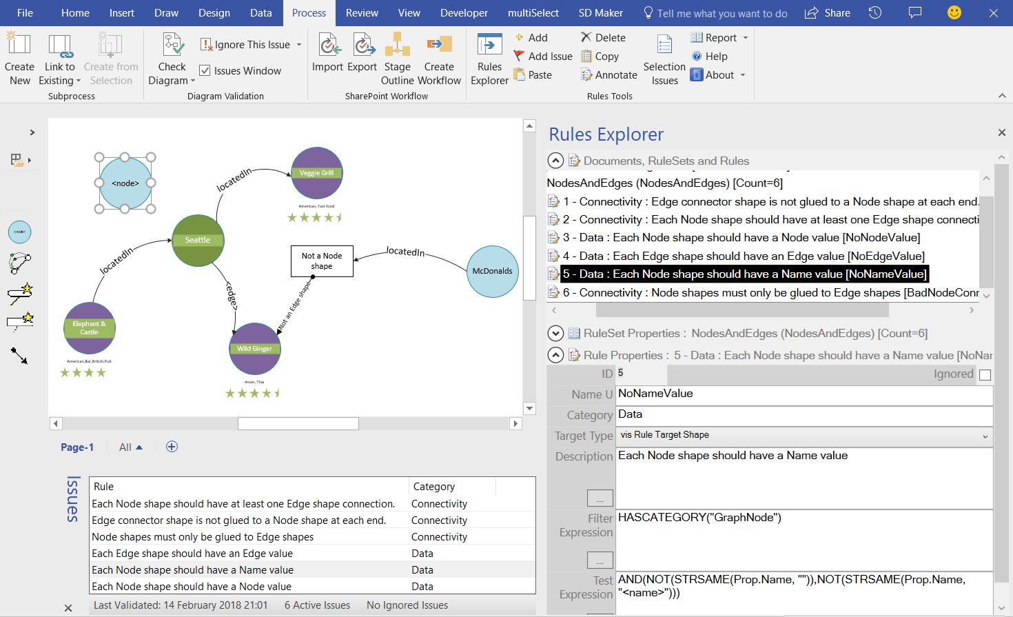 Creating Visio Validation Rules For Graphdatabase