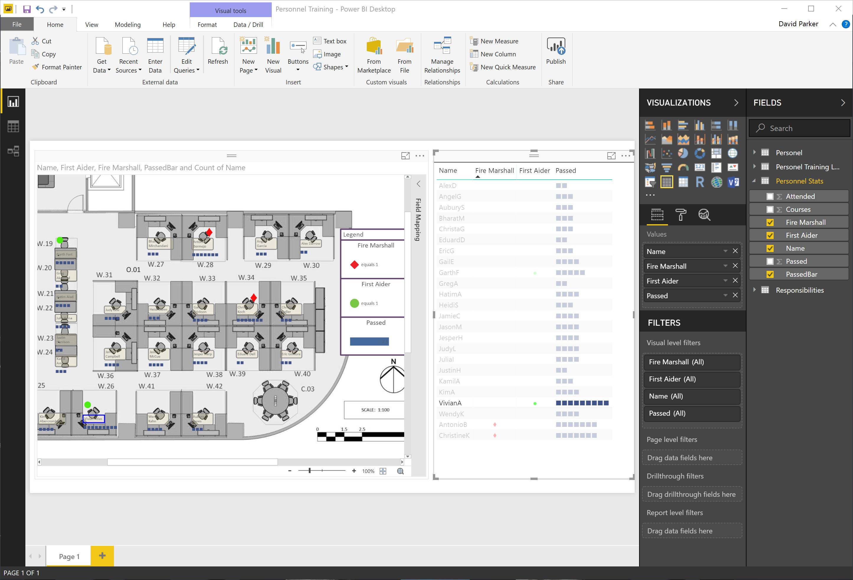 icons sets and data bars in  powerbi  visio visual