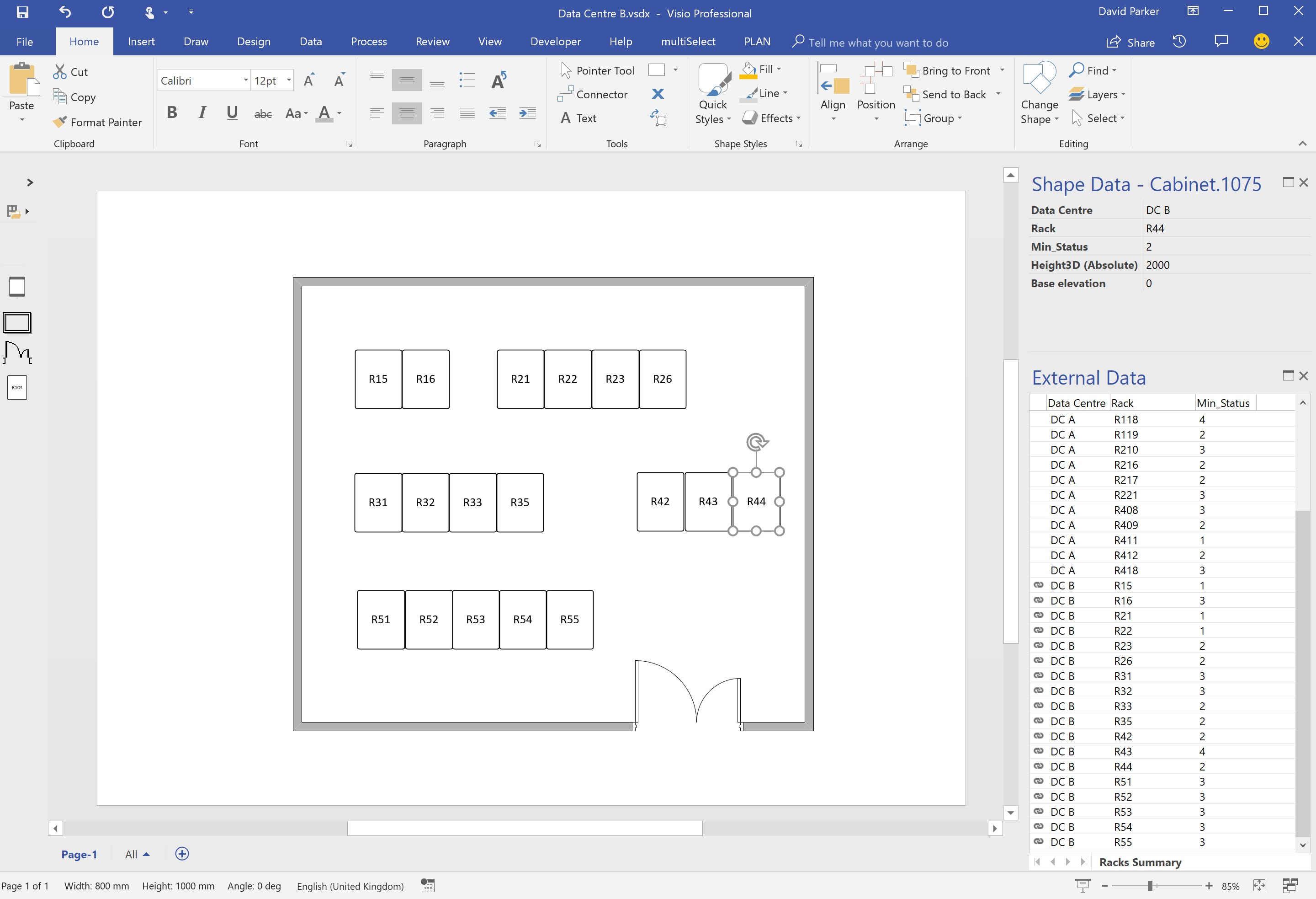 Simple data centre layouts in Visio