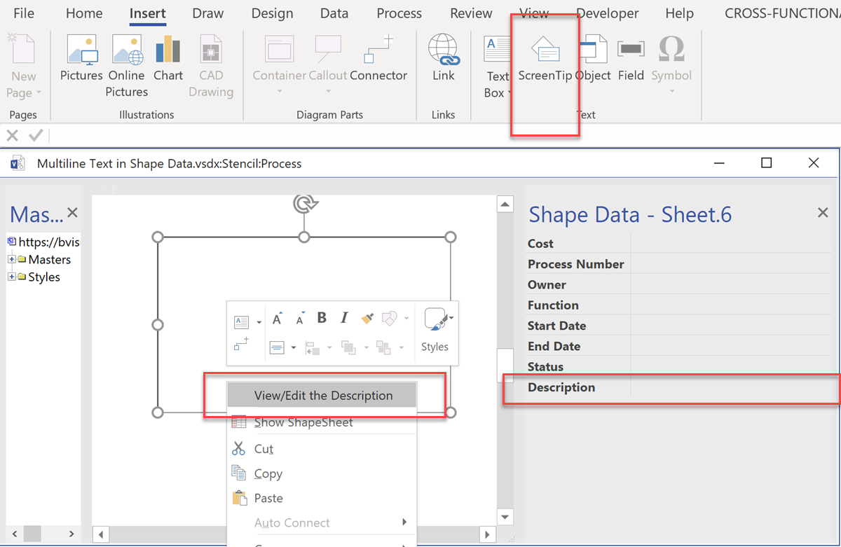 Multiline text in Visio Shape Data | bVisual - for people